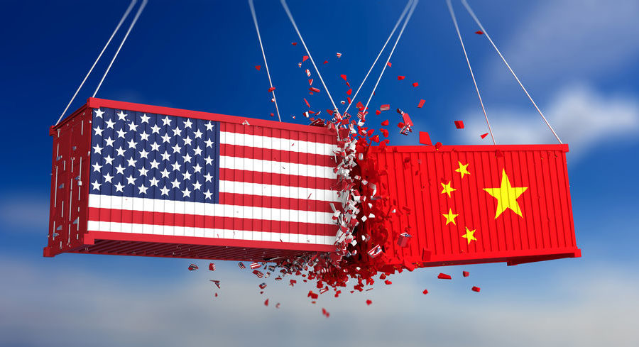 USA and China trade war. US of America and chinese flags crashed containers on blue sky background. 3d illustration