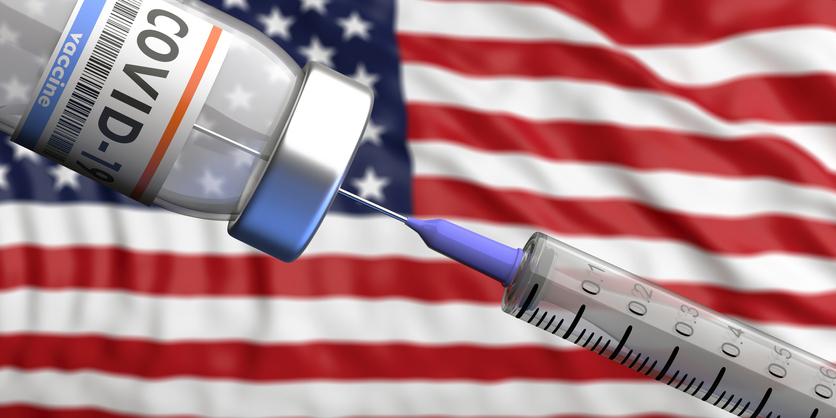 USA Coronavirus vaccine. Covid-19 vaccination, US of America flag background. 3d illustration
